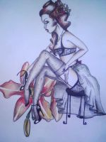 ginger pinup lady by PsYcHoGrEenMoNsTeR