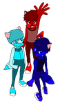 Anthro Adoptables, Fox Triplets (adopted) by Wolf-Prince-Leon