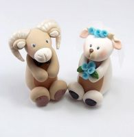 Ram and Goat Figurines Wedding Cake Topper by HeartshapedCreations