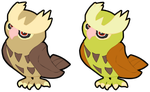 Noctowl and Shiny Noctowl! by CandyEvie