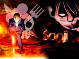 Sanji On Fire Walpaper by kon1495