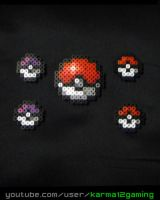Mini Pokeballs [Perler Art] by karma12gaming