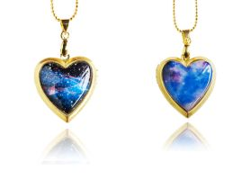 Blue Galaxy Handmade Resin Heart Locket Necklace by crystaland