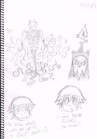 Sketch - AetherSkel, Lord Death and Crona by Jlaaag