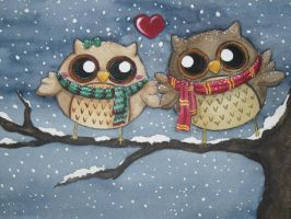 Owls in Love by iloveramen88