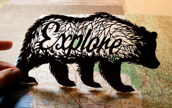Explore Bear PAPER CUTTING by Snowboardleopard