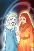 Elsa and her Queen by maria-m-art