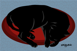 sleeping black kitty by pinguino