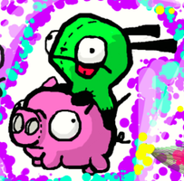 Gir and Pig :Upclose: by LeRainbowTurtle