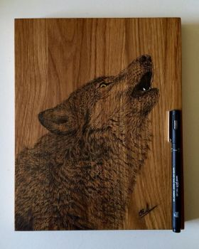 Wolf Art on wood by EivydasART