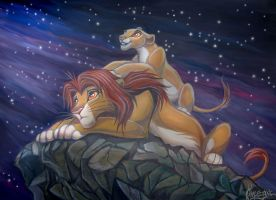 Simba and Kiara by OmegaLioness