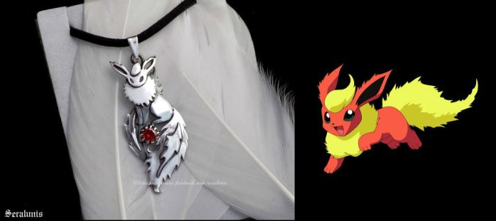 'Flareon', handmade sterling silver pendant by seralune