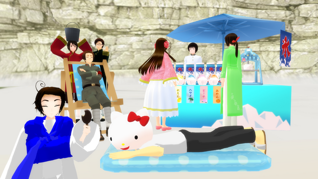 MMD Hetalia - The Asian countries on the beach by PikaBlaze