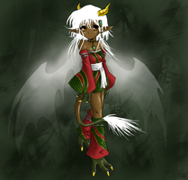 Dragon Girl with white hair by Qvi