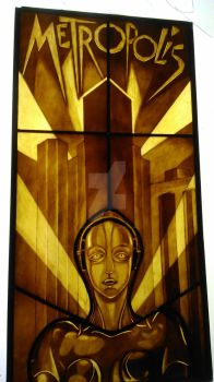 Metropolis Stained Glass Robot by MariaMcMahon