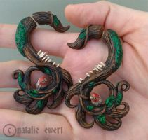 Little Forest Polymer Clay Faker Gauge Earrings by natamon