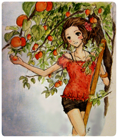 Peach picking by Moonlilith91