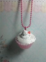 Pink Cupcake Sweets Necklace by xxsquigglesxx