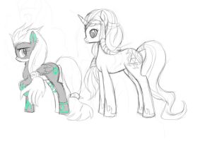 Twilight princesses ponies sketch by AngelofHapiness