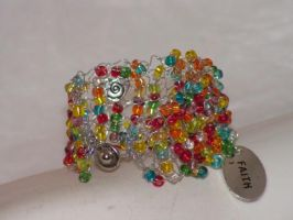 Have a Little Faith - Hand Knitted Wire Bracelet by nightowl2704