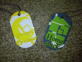 Prospit Dreamer and Homestuck dog tags by LingeringSentiments