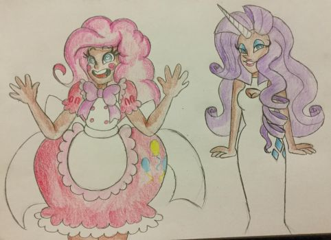 Human Pinkie Pie and Rarity by MsCreepyPlagueDoctor