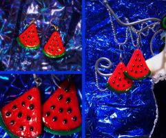Watermelon Earrings by elleira5jewellery