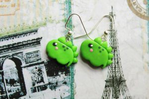 Polymer Clay Green Baby Dinosaur Earrings by CharmStop