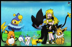 Chloe and her PokemonTeam by SajocosAngel