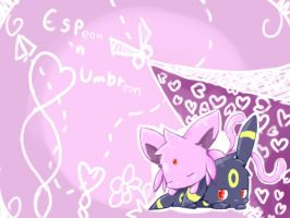 Espeon 'n Umbreon by PuppyLuv-1994