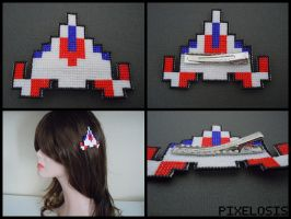 Handmade Seed Bead Custom Space Ship Hair Clip by Pixelosis