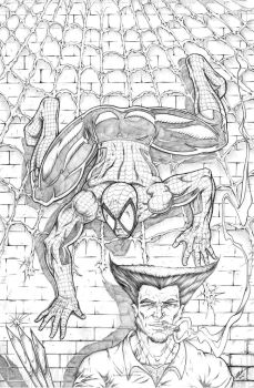 Spider-Man Sneaking up on Wolverine by RAM by robertmarzullo