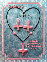 Pink Inverted Cross Necklace/Earring Set by KoRn-sTaR60291