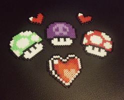 Miniature 8 bit Mushrooms! by Samii-Doll