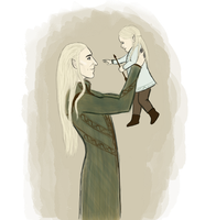 Thranduil and baby Legolas by ZauberiN1313