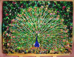 My best beadwork bead embroidery Emerald Peacock by SOFIAMETALQUEEN