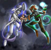 Epic Battle : Mewtwo vs Deoxys by nyausi