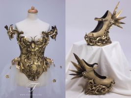 Baroque armor dress and shoes by Jolien-Rosanne