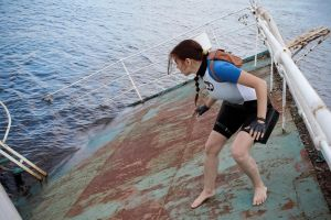 Lara Croft SOLA wetsuit - sliding by TanyaCroft