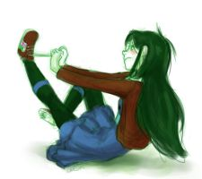 Jade Tying her Shoes by LargM