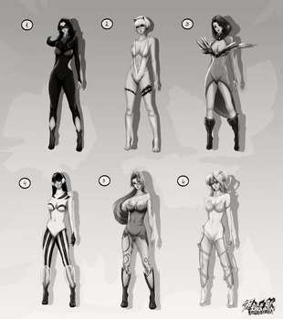 Super Hero Costumes Grey Scale by TearsofDragon