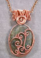 Labradorite and Copper Woven Pendant by HeatherJordanJewelry