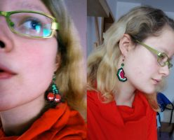 Cherry and Watermelon ear danglers by Waldbraut