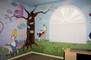 alice in wonderland mural 4 by bessenyei on deviantart. Black Bedroom Furniture Sets. Home Design Ideas