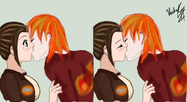 Honey And Comet Human Kiss by chatqueenpr