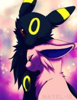 Umbreon and Espeon by NightWolfOfDoom9909