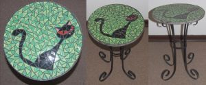 Cat wrought iron mosaic table Green by EleonoraIlieva