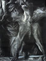 charcoal of cerberus statue by Appletail