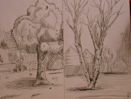 Crosshatched Trees by silverbamboo