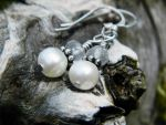 Blue Apatite and Pearl Earring by QuintessentialArts